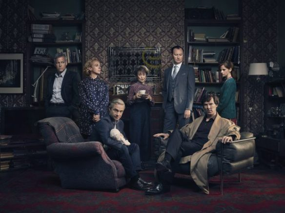 Sherlock, Season 4 Sundays, January 1 - 15, 2017 on MASTERPIECE Mystery! on PBS Picture shows: D.I. Lestrade (RUPERT GRAVES), Mary Watson (AMANDA ABBINGTON), John Watson (MARTIN FREEMAN), Mrs Hudson (UNA STUBBS), Mycroft Holmes (MARK GATISS), Sherlock Holmes (BENEDICT CUMBERBATCH) and Molly Hooper (LOUISE BREALEY). Courtesy of Todd Antony/Hartswood Films 2016 for MASTERPIECE